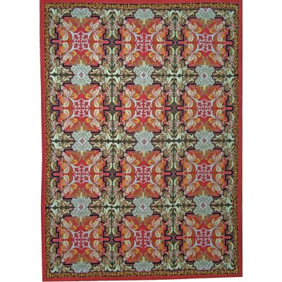 Aubusson Hand Woven Wool Red Area Rug Rug Size: Rectangle 12 9 x 20 1