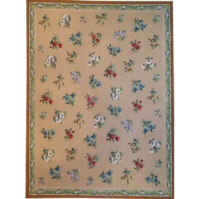 One-of-a-Kind Aubusson Hand Woven Wool Beige Area Rug Rug Size: Rectangle 52 x 711