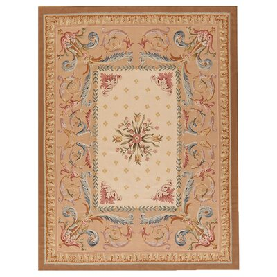 One-of-a-Kind Aubusson Hand Woven Wool Beige Area Rug