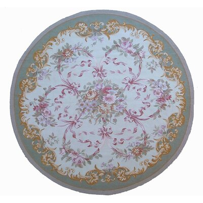 Aubusson Hand Woven Wool Gray/Pink Area Rug Rug Size: Round 710