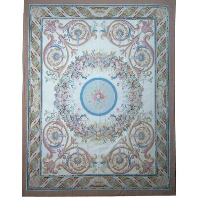 One-of-a-Kind Aubusson Hand Woven Wool Brown/Red/Blue Area Rug Rug Size: Rectangle 710 x 101