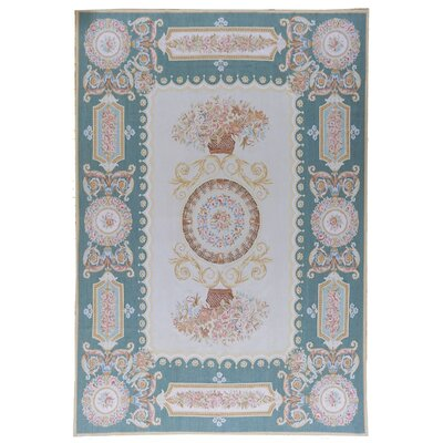 Aubusson Hand Woven Wool Teal/Beige Area Rug Rug Size: Rectangle 9 8 x 14