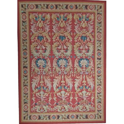Aubusson Hand Woven Wool Red Area Rug Rug Size: Rectangle 1011 x 16 3