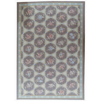 One-of-a-Kind Aubusson Hand Woven Wool Brown/Red/Green Area Rug