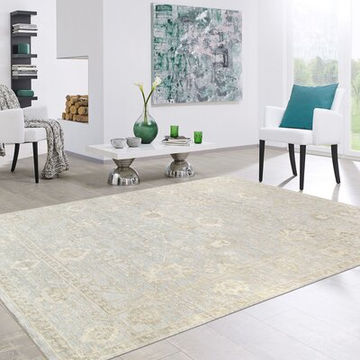 Oushak Hand-Knotted Wool Beige Area Rug Rug Size: Rectangle 81 x 103