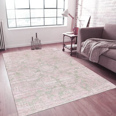 Transitional Hand-Knotted Silk Green/Pink Area Rug Rug Size: Rectangle 59 x 89