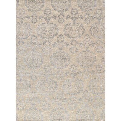 Transitional Hand-Knotted Silk Beige/Silver Area Rug
