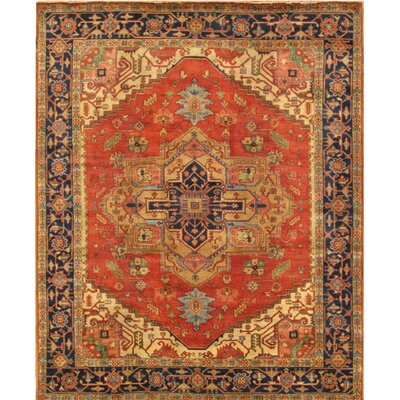 Serapi Tribal Hand-Knotted Wool Red/Navy Area Rug Rug Size: Rectangle 10 x 14