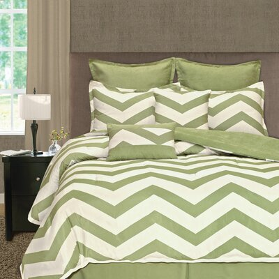 Palmetto Print Works Chevron 8 Piece Comforter Set Size: Queen, Color: Lime Green
