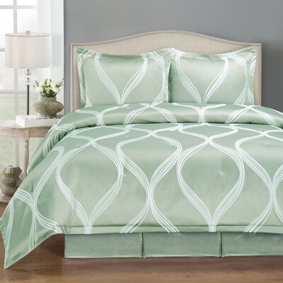 Westgate Wave 4 Piece Comforter Set Size: Queen, Color: Blue
