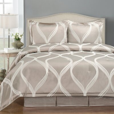 Westgate Wave 4 Piece Comforter Set Size: Queen, Color: Taupe