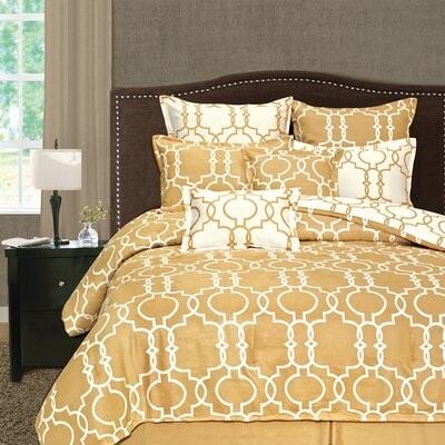 Palmetto Print Works Grid Iron 8 Piece Comforter Set Size: Queen, Color: Gold