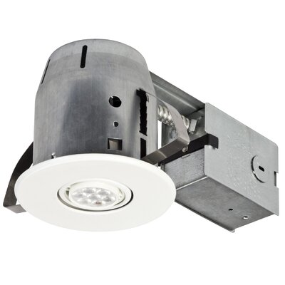 White IC Rated Dimmable Round 4 LED Recessed Lighting Kit