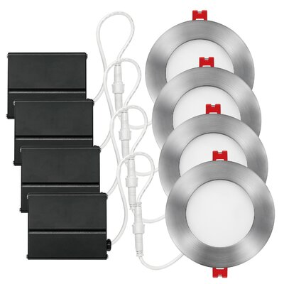 4 Integrated Ultra Slim LED Recessed Lighting Kit Finish: Brushed Nickel