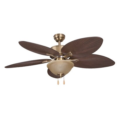 52 Palmira Bowl Light 5-Blade Ceiling Fan Finish: Aged Brass
