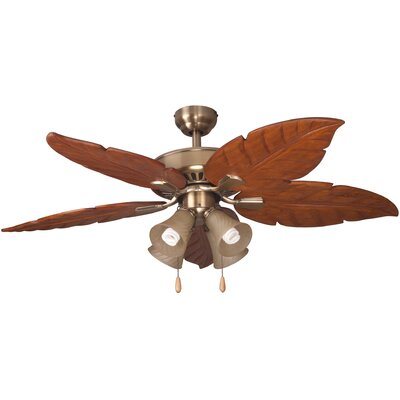 52 Kay Indoor 5 Blade Ceiling Fan with Remote Motor Color: Aged Brass
