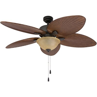 52 Cosgrave Palm Tropical 5 Blade Outdoor LED Ceiling Fan Finish: Bronze