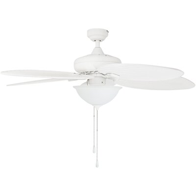 52 Cosgrave Palm Tropical 5 Blade Outdoor LED Ceiling Fan Finish: White