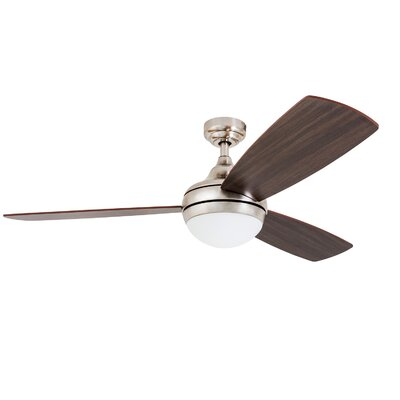 52 Alexa 3 Blade LED Ceiling Fan with Remote Control Finish: Brushed Nickel