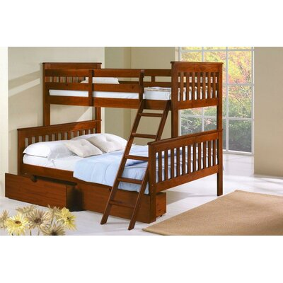 Twin over Full Standard Bunk Bed with Storage Finish: Light Espresso