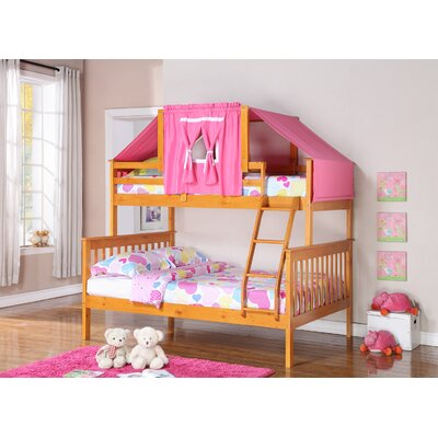 Donco Kids Twin over Full Futon Bunk Bed Finish: Honey, Accessory Finish: Pink