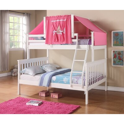 Donco Kids Twin over Full Futon Bunk Bed Finish: White, Accessory Finish: Pink