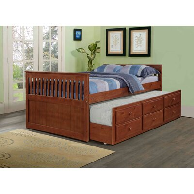 Captain Bed with Trundle Color: Light Espresso, Size: Full
