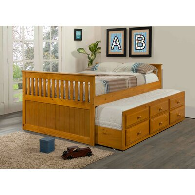 Captain Bed with Trundle Finish: Honey, Size: Full