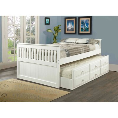 Captain Bed with Trundle Finish: White, Size: Full