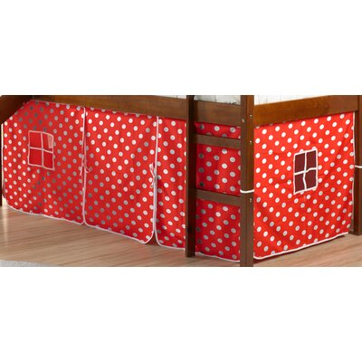 Curtain Set for Twin Loft Bed Color: Red Polka Dot