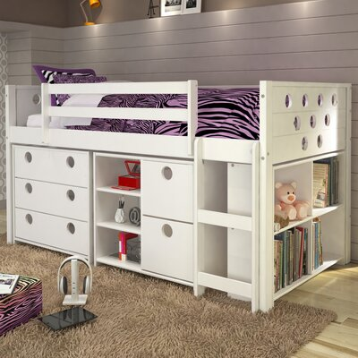 Circles Twin Loft Bed with Storage Finish: White