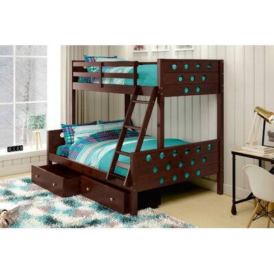 Twin over Full Bunk Bed with Storage Finish: Cappuccino