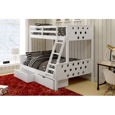 Twin over Full Bunk Bed with Storage Finish: White
