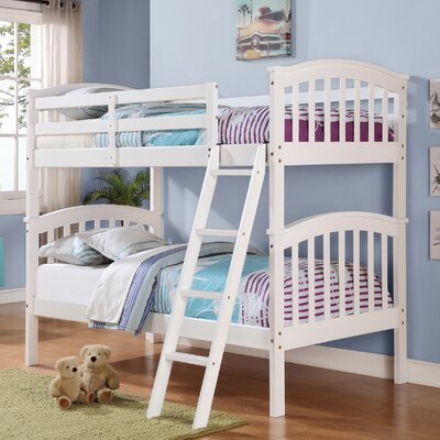 Columbia Twin over Twin Slat Bunk Bed Color: White