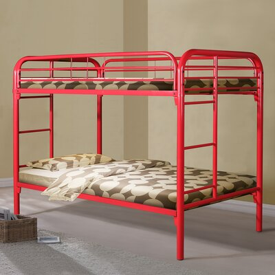 Twin over Twin Slat Bunk Bed Color: Red