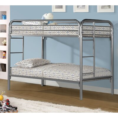 Twin over Twin Slat Bunk Bed Color: Silver