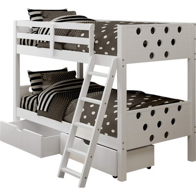 Twin Bunk Bed with Storage Finish: White