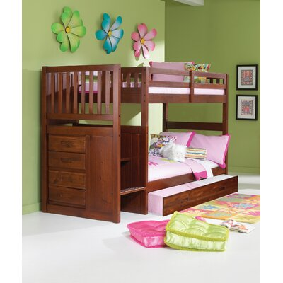 Mission Stair Step Twin over Twin Bunk Bed with Trundle