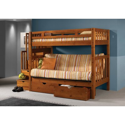 Stairway Loft Bunk Bed with Storage Drawers Size: Twin Over Futon