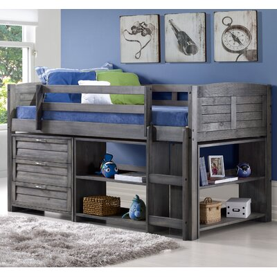 Louver Twin Low Loft Bed with Storage