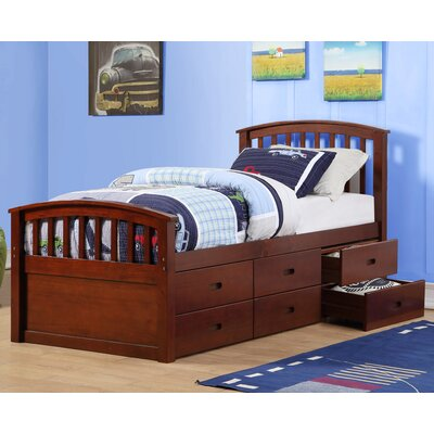 Twin Slat Bed with Drawers Color: Dark Cappuccino