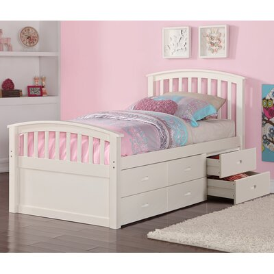 Twin Slat Bed with Drawers Color: White