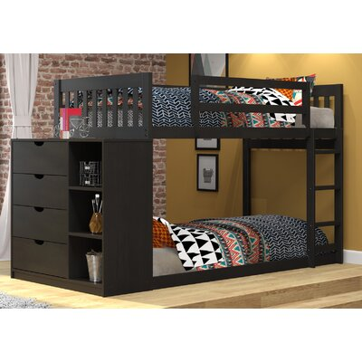 Mission Twin over Twin Bunk Bed with Chest and Storage Color: Black