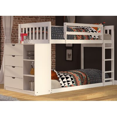 Mission Twin over Twin Bunk Bed with Chest and Storage Color: White