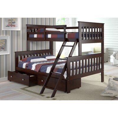 Twin over Full Standard Bunk Bed with Storage Finish: Dark Cappuccino