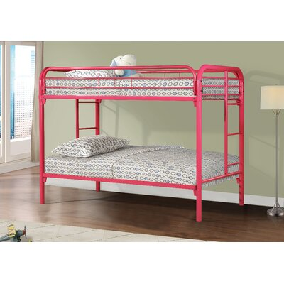 Cloverdale Modern Metal Bunk Bed Bed Frame Color: Hot Pink