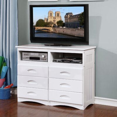 Harrietta Entertainment 6 Drawer Media Dresser Color: White