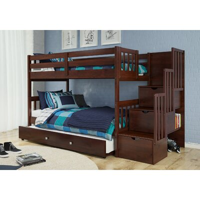 Vao Stairway Twin Over Twin Bunk Bed with Drawer