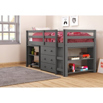 Zechariah Twin Low Loft Bed with Storage Bed Frame Color: Dark Gray