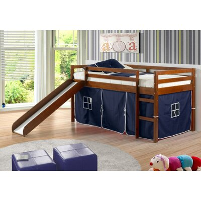 Tent Twin Low Loft Bed with Slide Finish: Light Espresso, Color: Blue